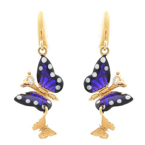 Серьги Roberto Bravo Monarch Butterflies с пурпурными и золотыми бабочками и бриллиантами, фото