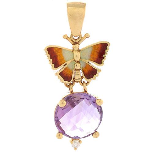 Подвеска Roberto Bravo Noahs Ark из золота с бабочкой бриллиантом и крупным аметистом, фото