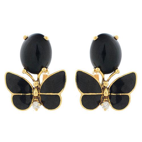 Серьги Roberto Bravo Black Magic золотые с бабочками овальными агатами и бриллиантами, фото