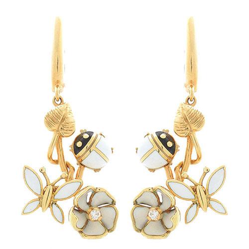 Серьги Roberto Bravo White Dreams золотые с бриллиантами на цветах стрекозами и божьими коровками, фото