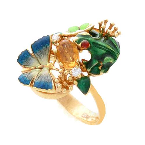 Кольцо Roberto Bravo Noahs Ark золотое с лягушкой цитрином и бриллиантом, фото