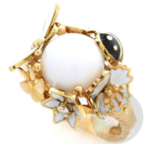 Кольцо Roberto Bravo White Dreams золотое с бриллиантом и агатом в окружении цветов стрекозы и коровки, фото