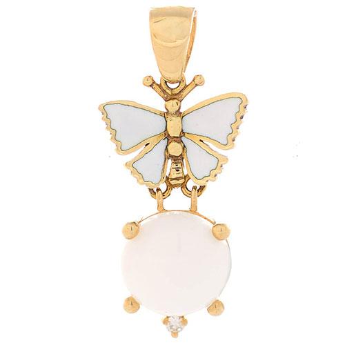 Подвеска Roberto Bravo White Dreams золотая с бабочкой круглым агатом и бриллиантом, фото