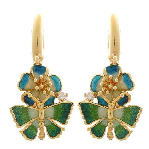 Серьги Roberto Bravo Noahs Ark золотые с бриллиантами бабочками и голубыми цветами, фото