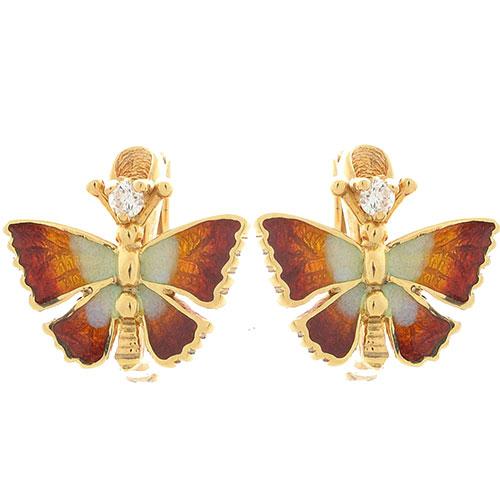 Серьги Roberto Bravo Noahs Ark золотые в виде бабочек с бриллиантами, фото