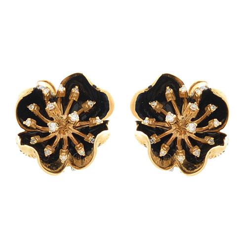 Серьги Roberto Bravo Gallica золотые в виде цветов с 30 бриллиантами, фото