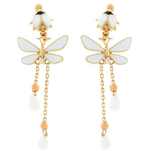 Серьги Roberto Bravo White Dreams золотые с длинными подвесками со стрекозами агатами и бриллиантами, фото