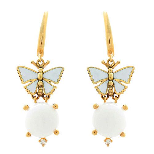 Серьги Roberto Bravo White Dreams золотые с бабочками агатами и бриллиантами, фото