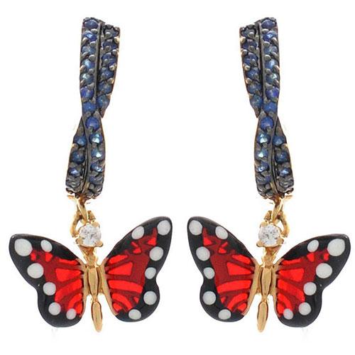 Серьги Roberto Bravo Monarch Butterflies золотые с сапфирами и бриллиантами, фото