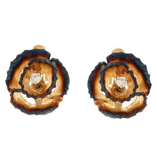 Серьги Roberto Bravo Gallica золотые в виде роз с бриллиантами на английской застежке, фото