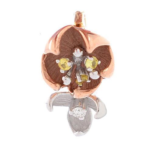 Золотой кулон Roberto Bravo Karina из двух цветов с бриллиантом и сапфирами, фото