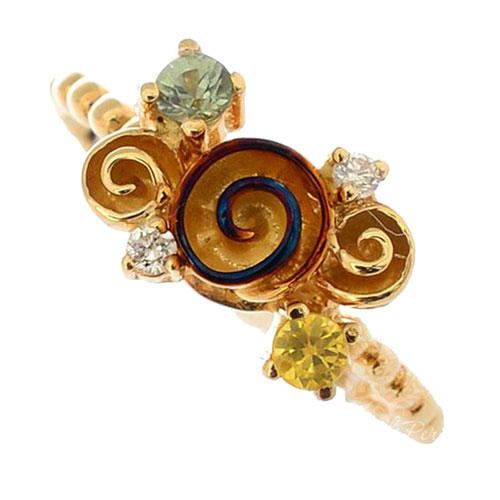 Золотое кольцо Roberto Bravo Gallica с бриллиантом желтым сапфиром и розой, фото