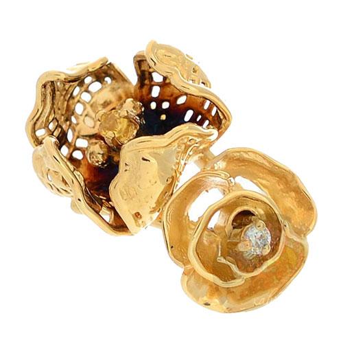 Золотое кольцо Roberto Bravo Gallica с бриллиантом сапфиром и цветами, фото