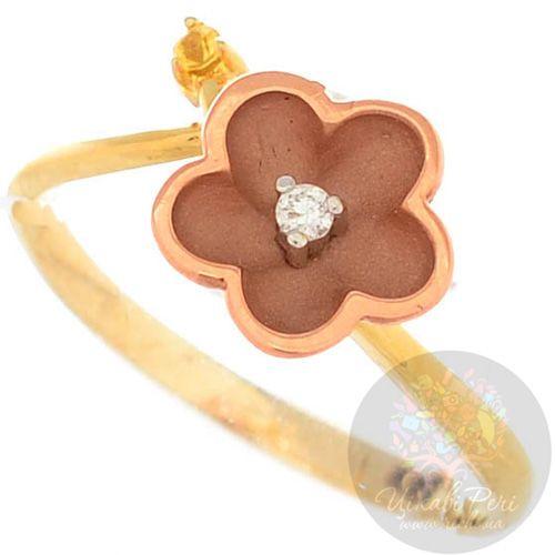 Кольцо Roberto Bravo Karina из желтого и розового золота с бриллиантом и сапфиром, фото