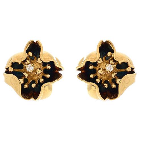 Серьги Roberto Bravo Gallica с бриллиантами и золотыми ажурными цветами, фото