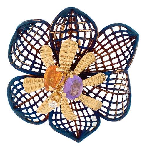 Подвеска Roberto Bravo Colors с покрытым переливающейся эмалью ажурным цветком с инкрустацией камнями, фото