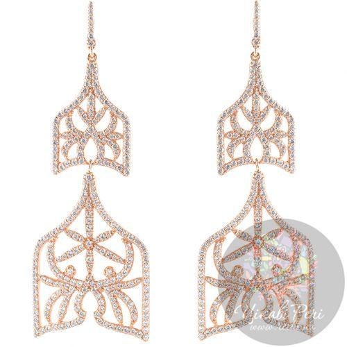 Длинные серебряные серьги APM Monaco Campanella в красной позолоте с цирконами, фото