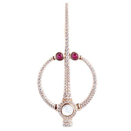 Серебряная моно-серьга с позолотой APM Monaco с розовым кварцем, фото