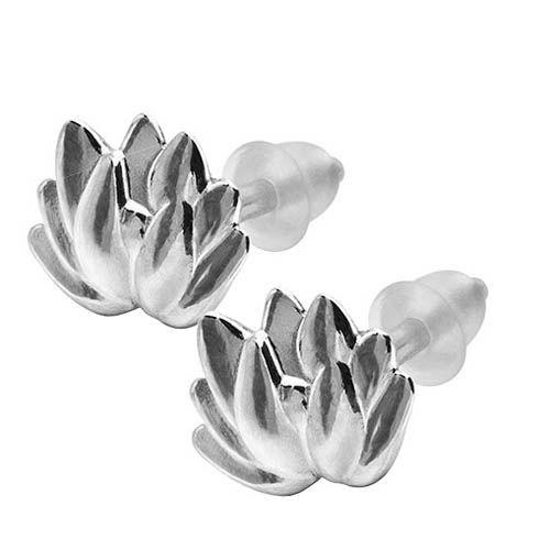 Серьги Елена Ястреб серебряные с лотосом, фото