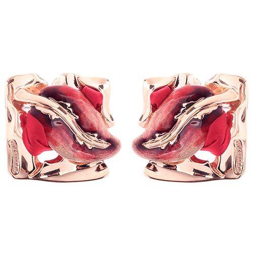 Серебряные серьги Graziella квадратной формы с веточкой лозы на красном шелке, фото