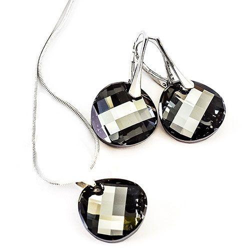 Набор серьги и подвеска She Happy с круглыми черными кристаллами Swarovski s7632, фото