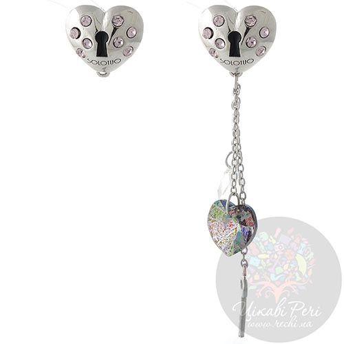 Серебряные серьги Solotuo в виде сердца в нежно-розовых стразах Swarovski со сменной подвеской, фото