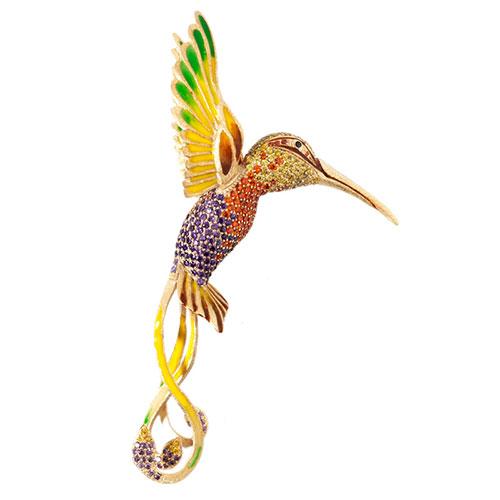 Брошь Misis I Giardini Di Marzo в виде птицы с ярким оперением, фото