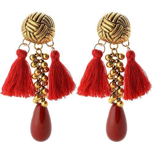 Серьги-гвоздики Jewels с крупной красной бусиной и ярко-красными кистями из нитей, фото
