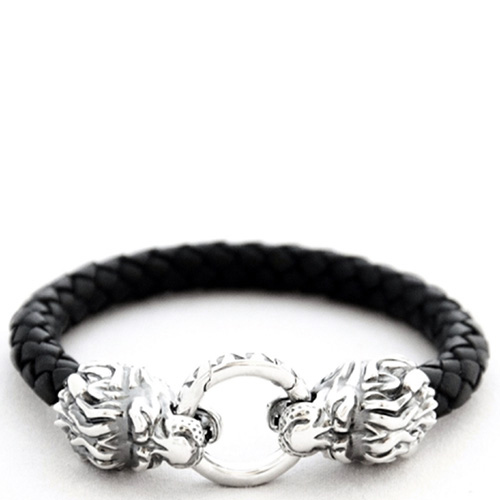 Кожаный браслет TOTEM Adventure Jewelry Lion серебряный, фото