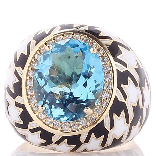 Золотой перстень Roberto Bravo Pied De Poule с орнаментом и большим топазом в центре, фото