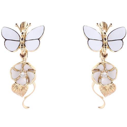 Золотые серьги Roberto Bravo White Dreams с подвесками в форме цветов и бабочек, фото