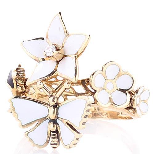 Золотое кольцо Roberto Bravo White Dreams с белыми цветами и бабочками, фото