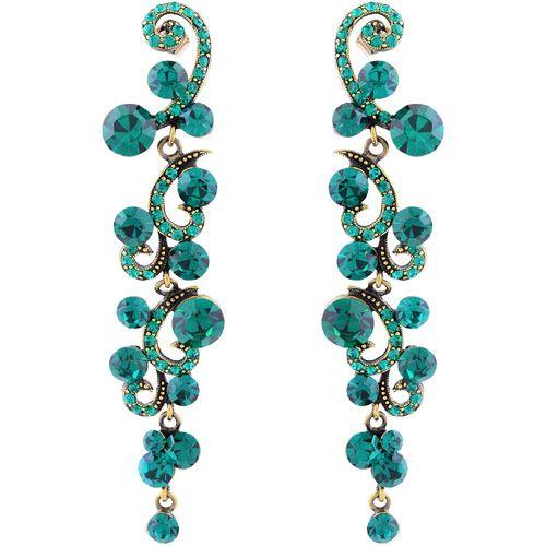Серьги Parure Milano позолоченные длинные изумрудные с кристаллами Swarovski, фото
