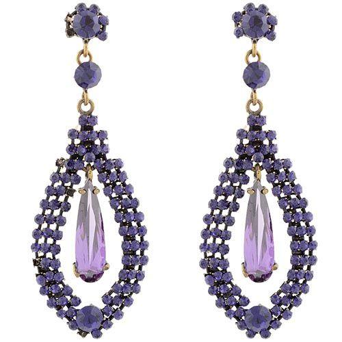 Серьги Parure Milano длинные с кристаллами фиолетового цвета, фото