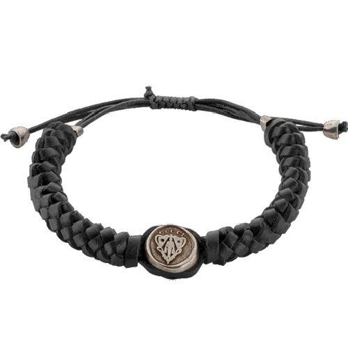 Браслет Gucci из серебра Crest with black leather cord, фото