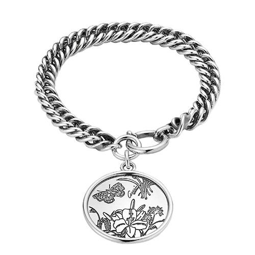 Серебряный шарм-браслет Gucci Flora с гравированной круглой подвеской, фото