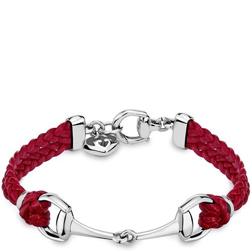 Серебряный браслет Gucci Horsebit с плетеным кожаным ремешком, фото