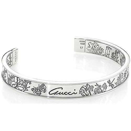 Незамкнутый браслет Gucci Flora с гравировкой из стерлингового серебра, фото