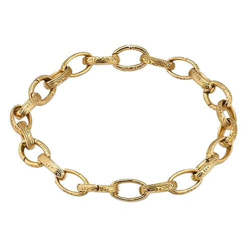 Золотой шарм-браслет Gucci Charms с арабским дизайном на овальных звеньях, фото