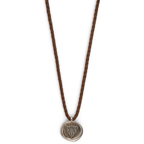 Подвеска Gucci из серебра Crest brown leather cord, фото