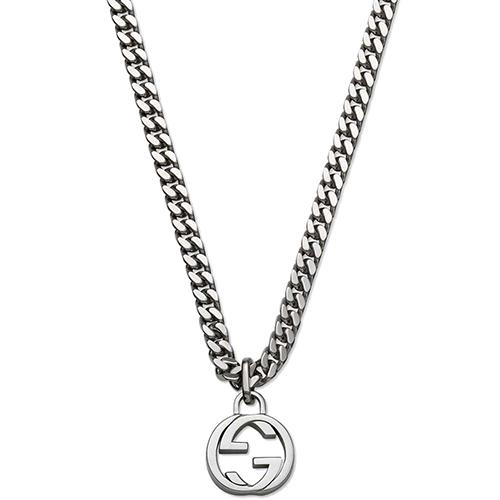 Серебряный кулон Gucci Running G с фирменным логотипом на толстой цепочке, фото