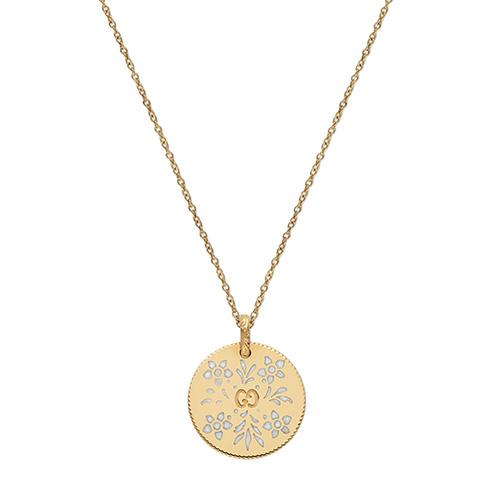 Ожерелье Gucci Icon из желтого золота с белым  цветочным принтом, фото