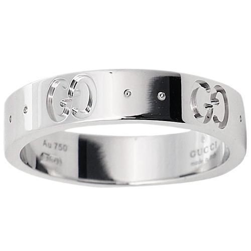 Тонкое кольцо Gucci Icon из полированного белого золота с тиснением, фото