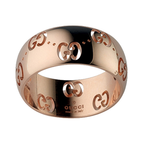 Широкое кольцо Gucci Icon из розового золота с фирменным тиснением, фото