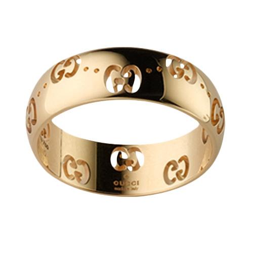 Женское кольцо Gucci Icon из желтого золота с фирменным тиснением, фото