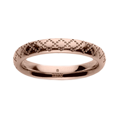 Тонкое кольцо Gucci Diamantissima из розового золота с узором, фото