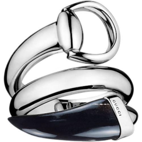 Кольцо Gucci из серебра Horsebit black horn, фото