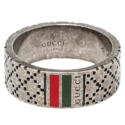 Мужское серебряное кольцо Gucci Diamantissima с гравировкой и эмалью, фото