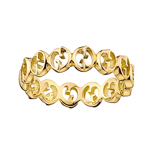 Кольцо Gucci 1973 из желтого золота в виде колец из логотипа, фото