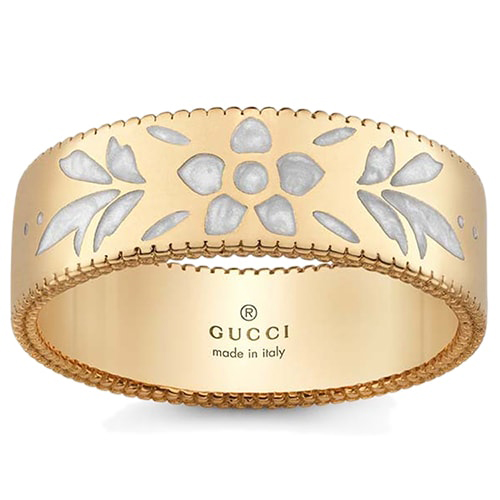 Широкое золотое кольцо Gucci Icon с цветочным узором из белой эмали, фото